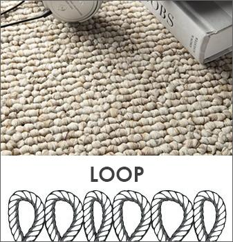A Loop carpet is an uncut yarn that creates a durable surface.